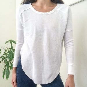 Revolve TNA waffle Henley white thermal long top